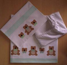 Jogo de lençol padrão americano 03 peças 100% algodão (percal 180 fios) com patch apliquée e viés em tecido. Fronha - 40cm x 30cm Lençol superior - 90cm x 140cm (vira 10cm) Lençol inferior (elástico) - 70cm x 13cm x 130cm  *As cores e os temas para o aplique podem escolhidos. Consulte disponibilidade. **As medidas podem ser alteradas conforme necessidade. R$ 79,90