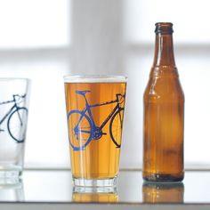4 bike pint glasses blue bicycle by vital on Etsy, $38.00