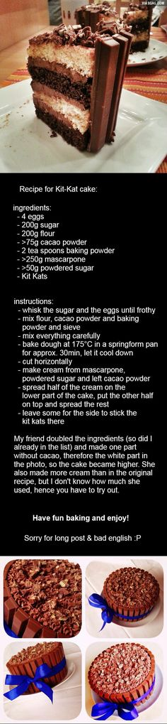 For those who wanted the recipe for the kit kat cake. Here it is (and sorry for the missing potato)