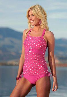 Berry Pink Dot Ruched Tankini with Sash Modest Swimwear