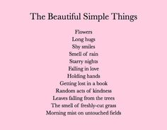 beautiful simple things in life