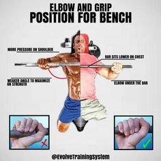 Bench press tips - ELBOW & GRIP POSITIONS FOR BENCH! Bench of course has the highest recruitment for the pec major (major part of the chest) and the only way you're going to get the best bang for your buck out of this move is by working on the details and perfecting it. If you're someone who doesn't have a good mind to muscle connection on the barbell chest press or feel discomfort in you shoulder(s) these two pointers may make a world of a difference for you.