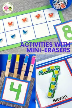 Do you want to know what to do with mini erasers?  Get free mini-eraser sorting mats Preschool Activities At Home, Motor Skills Activities, Counting Activities, Alphabet Activities, Language Activities, Preschool Math, Color Activities, Hands On Activities, Literacy Activities