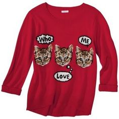Xhilaration® Juniors Cat Graphic Sweater - Red on shopstyle.com