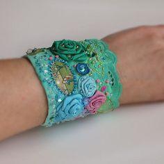 Bracelet bold romantic wrist cuff , inspired bohemia NOUWEAU ART,  hand beaded…