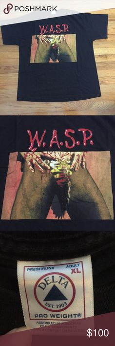 W.A.S.P. Shirt XL From a collection of heavy metal shirts. (1990's-2000's)  Vintage condition. Fadding, lettering is cracked. May contain small holes and/or spots. Please see pictures for details.  Size XL Shirts