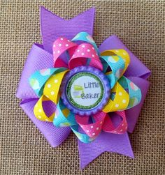 Little Baker theme Hair Bow Baking Hair Bow by RosieMaeBowtique, $5.50