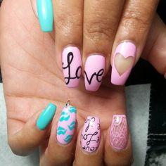 Love nails #blue #pink #black