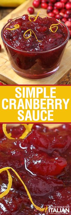 Simple Cranberry Sauce with just 3 ingredients is sure to be a family tradition! Simple Cranberry Sauce with just 3 ingredients is sure to be a family tradition! Thanksgiving Recipes, Fall Recipes, Holiday Recipes, Thanksgiving Celebration, Thanksgiving Feast, Holiday Meals, Holiday Cocktails, Christmas Recipes, Chutneys