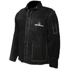 "Black Boarhide Leather Welding Jacket, 30"" Coat - 3029 - Caiman"
