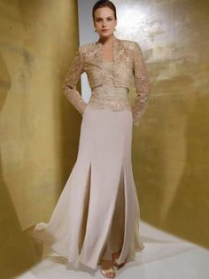 Sheath / Column Strapless Lace Long Sleeves Ankle-length Chiffon