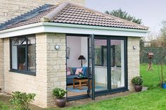 Side view with open door of an Everest Tiled Roof Extension Conservatory Decor Small, Conservatory Extension, Small Sunroom, House Extension Plans, House Extension Design, Roof Extension, Extension Ideas, Garden Room Extensions, House Extensions