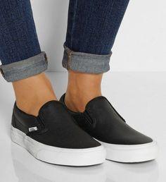 buy online 516df 29d80 Vans Schwarz, Vans Slip On Black, Leather Vans Slip On, Black Leather Vans