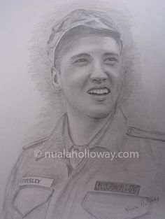 """Elvis in the Army (I)"" by Nuala Holloway - Pencil on Paper (Commission)  As featured in the music biography ""Elvis and Ireland"" by Ivor Casey -  Available to buy now on Amazon #Elvis #ElvisandIreland #IrishArtist"
