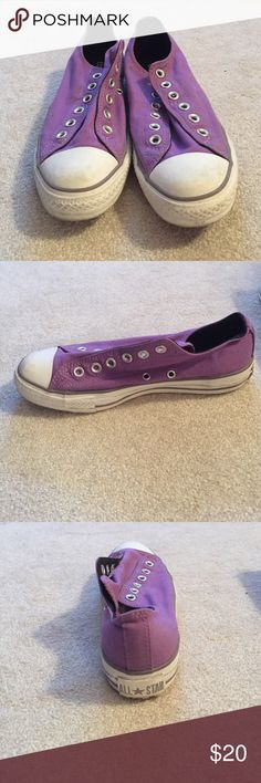 Purple converse Have some wear as shown in the pictures they are slip on Converse Shoes Sneakers