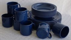Texas Ware Melamine Navy Blue Plates Bowls Cups Camping RV 24 Pc Service for 8