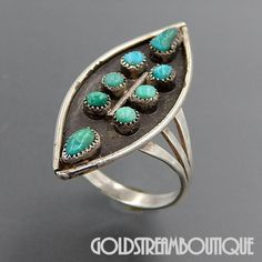 Native American Zuni Sterling Silver Snake Eye Turquoise Marquise Shap – Gold Stream Boutique