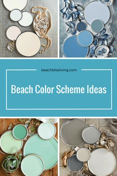 Coastal Paint Color Schemes Inspired from the Beach Beach Color Palettes, Beach Color Schemes, Paint Color Schemes, Paint Colours, Wall Colors, Color Combinations, Coastal Paint Colors, Beachy Colors, Blue Colors