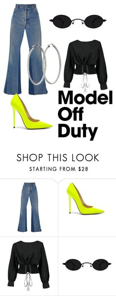 A fashion look from September 2017 featuring off-shoulder tops, vintage jeans and leather sole shoes. Browse and shop related looks. Models Off Duty, Vintage Jeans, Off Shoulder Tops, Jimmy Choo, Boohoo, Fashion Looks, Polyvore, Leather, Shopping
