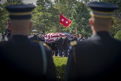 The flag-draped casket of U.S. Army Maj. Gen. Harold J. Greene is taken from the chapel by the caisson during a military funeral in his honor at Joint Base Myer-Henderson Hall's Memorial Chapel in Arlington, Va., Aug. 14, 2014. Greene is the highest-ranking service member killed in the wars in Iraq and Afghanistan.  (U.S. Army photo by Staff Sgt. Bernardo Fuller)