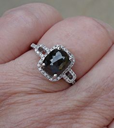 2 Carat Rose Cut Black Diamond Solitaire Ring 14k by Luxinelle