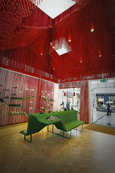 Interior of this store in amazing colours are complementary . Organized, balanced and attractive interior. I like it .