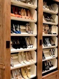 Automatic footwear shelf Automatic footwear shelf Organizing & Decluttering News: Fancy-Schmancy Shoe Storage for Your Closet<br> Closet Shoe Storage, Diy Shoe Rack, Shoe Racks For Closets, Storage For Shoes, Shoe Storage Ideas Bedroom, Shoe Storage Ideas For Small Spaces, Walk In Closet Organization Ideas, Garage Shoe Rack, Front Door Shoe Storage