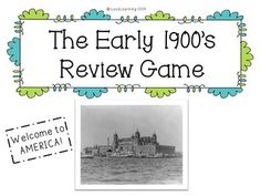 This PowerPoint game reviews:  ~Immigration to Ellis Island and Angel Island in the early 1900's ~Inventors and their inventions (Wright Brothers, Edison, Bell, Carver) ~Labor Unions ~Big Businesses (John D. Rockefeller and Andrew Carnegie)
