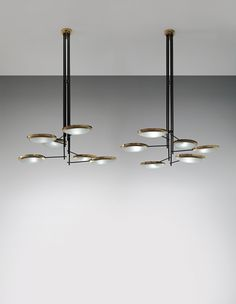 STILNOVO Pair of monumental chandeliers, designed for the Cartoleria Adua, Milan, circa 1947 Artwork Lighting, Cool Lighting, Interior Lighting, Modern Lighting, Lighting Design, Pendant Lighting, Chandelier, Pendant Lamp, Lighting Ideas