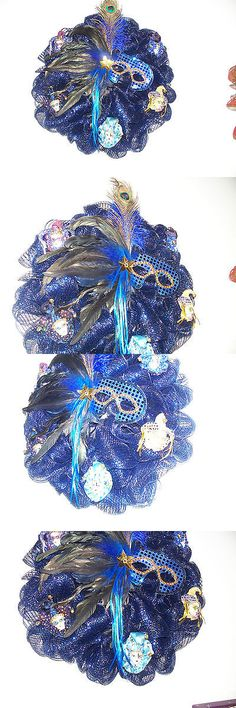 Wreaths 16498: Mardi Gras Homemade Deco Mesh Wreath With Royal Blue Mask -> BUY IT NOW ONLY: $50 on eBay!