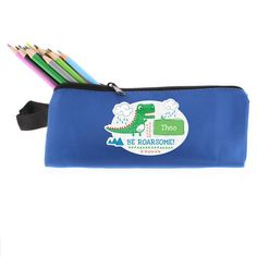Personalised Dinosaur Blue Pencil Case -  Be Roarsome