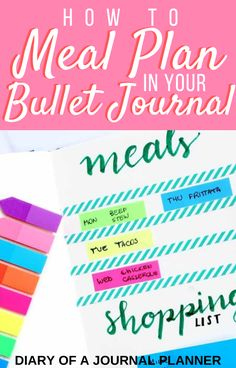 Use your bujo to integrate your meal planning, recipes, grocery lists, and food budget. Read on to learn how to use a bullet journal meal planning system. Bullet Journal Layout Templates, Bullet Journal Contents, Bullet Journal Tracker, Bullet Journal Hacks, Bullet Journal Printables, Bullet Journals, Bullet Journal For Beginners, Bullet Journal How To Start A, Daily Planners