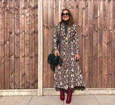 Winter sweaters for women - Elena wears her sweater under a dress | 40plusstyle.com