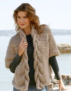Free Pattern Cable Jacket. I'd add long sleeves.