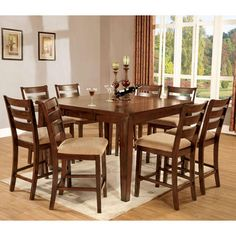 247Shopathome Kendall Dark Cherry Finish Counter Height 9Piece Inspiration Kendall Dining Room Inspiration