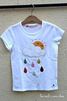 les mil i una idees: Plou i fa sol Baby Shirts, Kids Shirts, T Shirts For Women, Applique Patterns, Applique Designs, T Shirt Painting, Shirt Embroidery, Simple Shirts, Little Girl Dresses