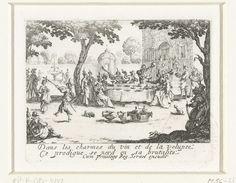 Jacques Callot   De verloren zoon verbrast zijn geld, Jacques Callot, Israël Henriet, Lodewijk XIII (koning van Frankrijk), 1635   In een tuin voor een groot statig pand zit een groep fraai uitgedoste jongedames en jongemannen aan een grote tafel te eten, te drinken en te musiceren. Onder de voorstelling een tweeregelig Franstalig vers. Deze prent is onderdeel van een reeks prenten rond de gelijkenis van de verloren zoon, bestaande uit een titelprent en tien verhalende voorstellingen.
