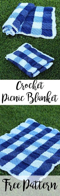Crochet Gingham Picnic Blanket   Made of durable cotton!   Free Pattern