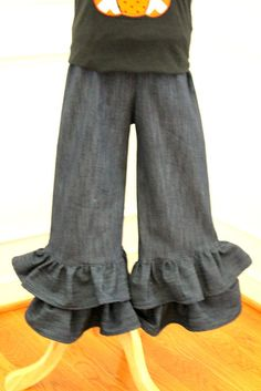 denim ruffle pants fall outfit  pants toddler baby infant ruffle pants double ruffle pants circus outfit circus michael miller girl on Etsy, $29.00