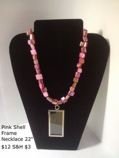Pink Shell Frame Necklace this frame can be used to save a flower or even a lock of hair.