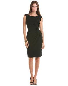 Tahari A.S.L. 'Hollylee' Black Ruffle Side Dress