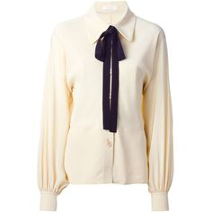 Chloé Bow Detail Shirt ($750) ❤ liked on Polyvore featuring tops, tops unsorted, white shirt, bow top, pleated shirt, white tops and long sleeve collared shirt