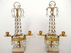Selten! 2 x Kristall-GIRANDOLE Gustavianisch, Schweden um 1900, Kerzenständer in Antiquitäten & Kunst, Mobiliar & Interieur, Lampen & Leuchten | eBay