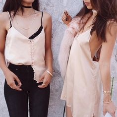 Slip dresses and tops paired with jeans.
