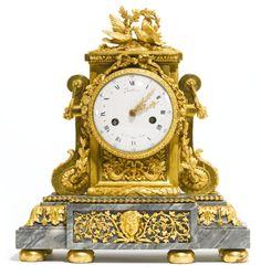 A Louis XVI ormolu mantel clock, attributed to Jean-Jacques Lemoyne<br>circa 1785, the dial signed <em>Robin hger. Du Roi</em> | Lot | Sotheby's