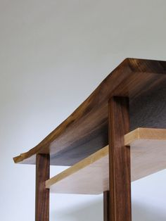 Walnut Console Table with Live Edge Table Top: Narrow Table Design for Hall, Entryway Furniture for Small Spaces- Handmade Wooden Console