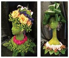 DIY Floral Centerpieces made from styrofoam mannequin heads available at www.MannequinMadness.com