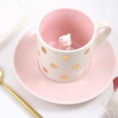 Tasse chat en porcelaine - Bird on the wire