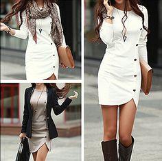 White Plain Button Decorated Sheath Slim Fit Side Round Neck Long Sleeve Trendy Mini Dress