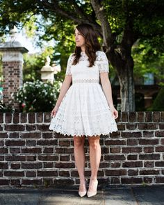 Little white lace dress on sequinsandstripes.com or sign up @liketoknow.it to easily shop this look from your inbox! Details here: www.liketk.it/2mKMg #liketkit #lacedress #lwd #wiw #feminine by liz.adams_